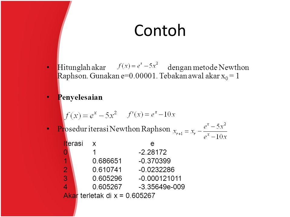 Contoh Hitunglah akar dengan metode Newthon Raphson. Gunakan e=0.00001. Tebakan awal akar x 0 = 1 Penyelesaian Prosedur iterasi Newthon Raphson Iteras