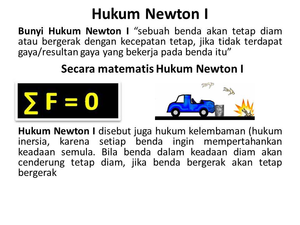 """Hukum Newton I Bunyi Hukum Newton I """"sebuah benda akan tetap diam atau bergerak dengan kecepatan tetap, jika tidak terdapat gaya/resultan gaya yang be"""