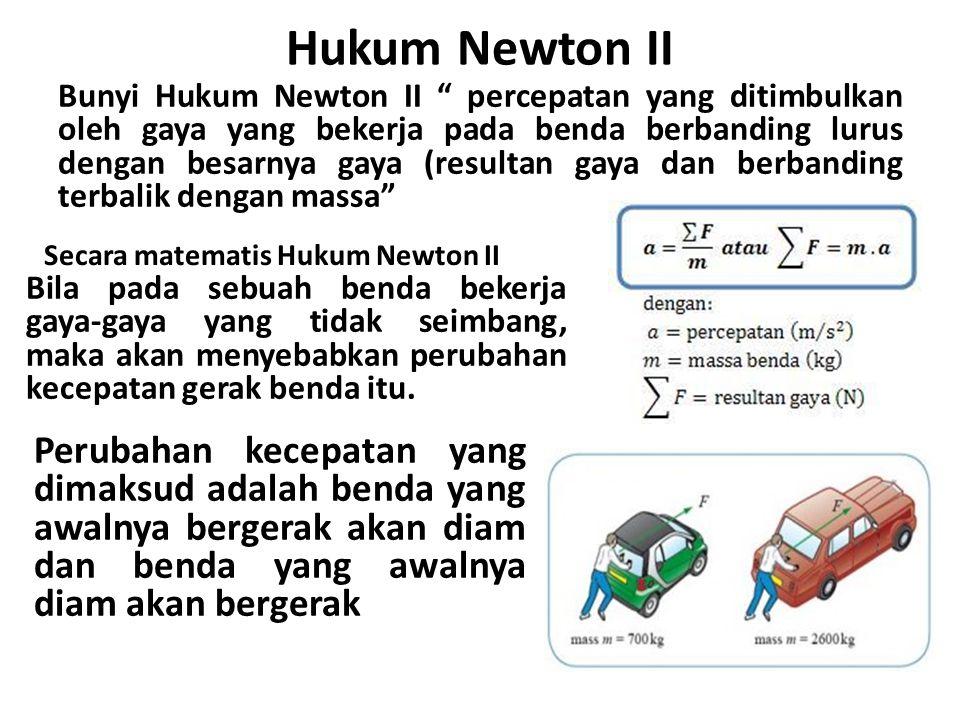 1.Bila kita naik sepeda di jalan menurun dapat bergerak lebih cepat dibandingkan jalan yang mendatar 2.Kelapa yang jatuh dari tangkainya, kecepatannya semakin besar 3.Kereta yang ditarik 2 ekor kuda lebih cepat daripada 1 ekor kuda Dalam kehidupan sehari-hari hukum Newton II terlihat pada peristiwa