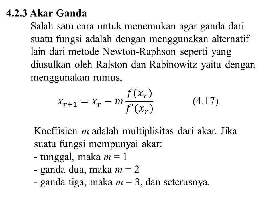 4.2.3 Akar Ganda Salah satu cara untuk menemukan agar ganda dari suatu fungsi adalah dengan menggunakan alternatif lain dari metode Newton-Raphson sep