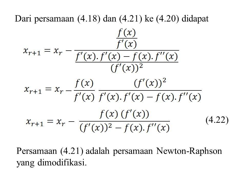 Dari persamaan (4.18) dan (4.21) ke (4.20) didapat (4.22) Persamaan (4.21) adalah persamaan Newton-Raphson yang dimodifikasi.