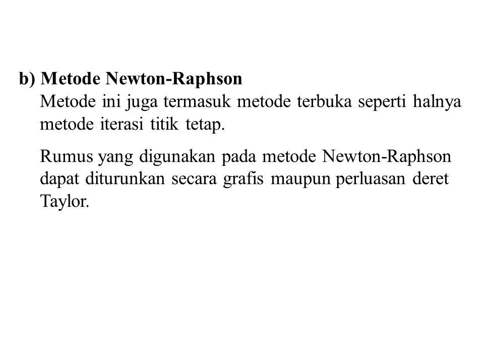 b) Metode Newton-Raphson Metode ini juga termasuk metode terbuka seperti halnya metode iterasi titik tetap. Rumus yang digunakan pada metode Newton-Ra