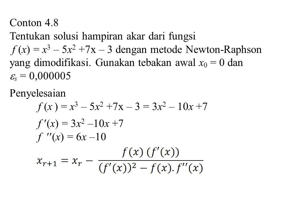 Conton 4.8 Tentukan solusi hampiran akar dari fungsi f (x) = x 3 – 5x 2 +7x – 3 dengan metode Newton-Raphson yang dimodifikasi. Gunakan tebakan awal x