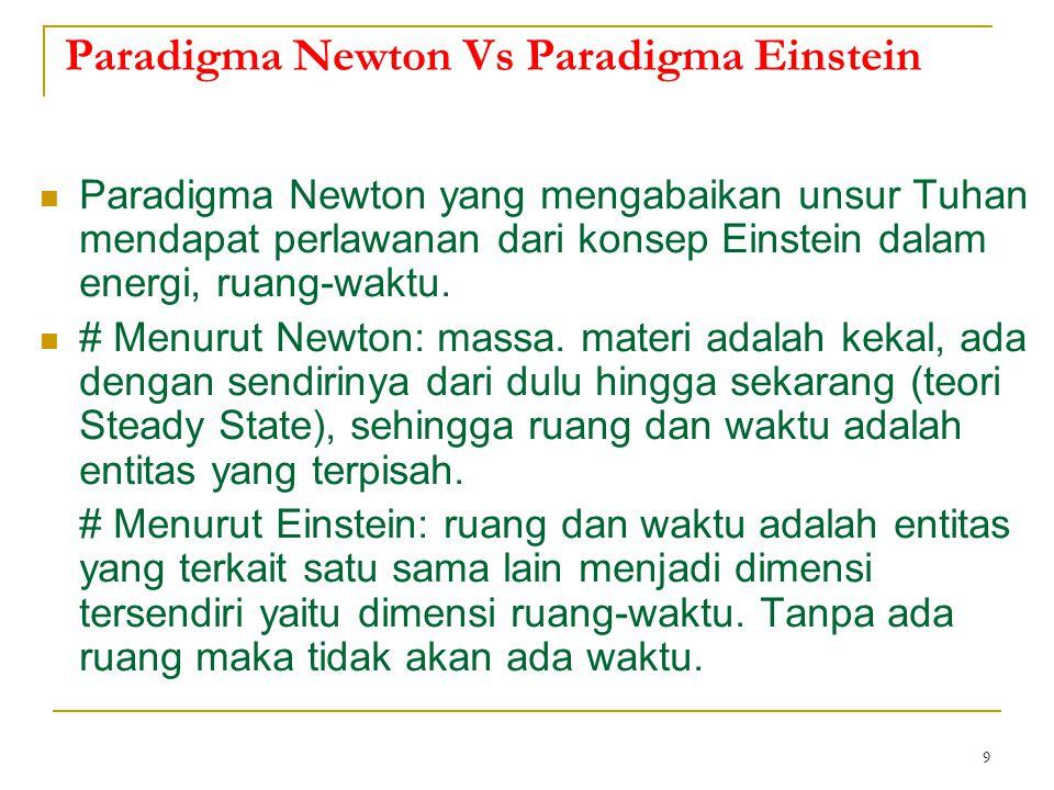 9 Paradigma Newton Vs Paradigma Einstein Paradigma Newton yang mengabaikan unsur Tuhan mendapat perlawanan dari konsep Einstein dalam energi, ruang-wa