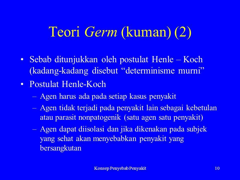 """Konsep Penyebab Penyakit10 Teori Germ (kuman) (2) Sebab ditunjukkan oleh postulat Henle – Koch (kadang-kadang disebut """"determinisme murni"""" Postulat He"""
