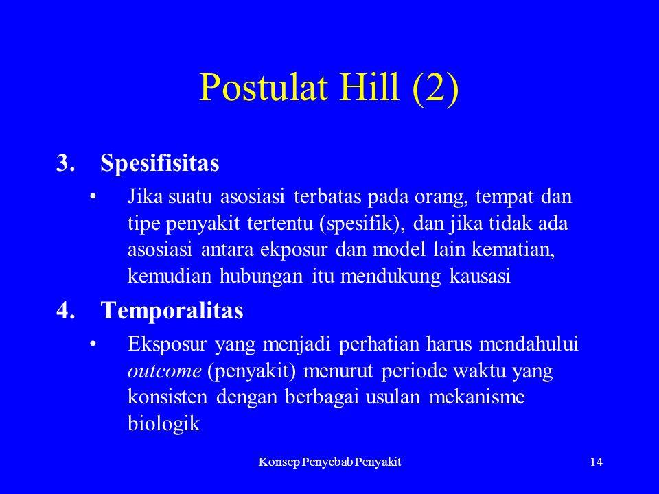Konsep Penyebab Penyakit14 Postulat Hill (2) 3.Spesifisitas Jika suatu asosiasi terbatas pada orang, tempat dan tipe penyakit tertentu (spesifik), dan