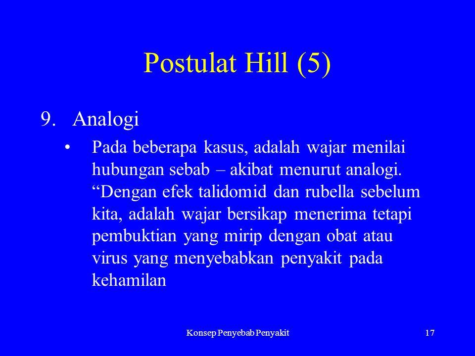 Konsep Penyebab Penyakit17 Postulat Hill (5) 9.Analogi Pada beberapa kasus, adalah wajar menilai hubungan sebab – akibat menurut analogi.