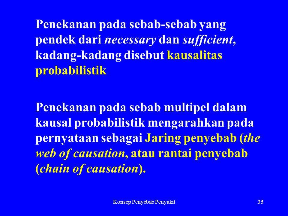 Konsep Penyebab Penyakit35 Penekanan pada sebab-sebab yang pendek dari necessary dan sufficient, kadang-kadang disebut kausalitas probabilistik Penekanan pada sebab multipel dalam kausal probabilistik mengarahkan pada pernyataan sebagai Jaring penyebab (the web of causation, atau rantai penyebab (chain of causation).