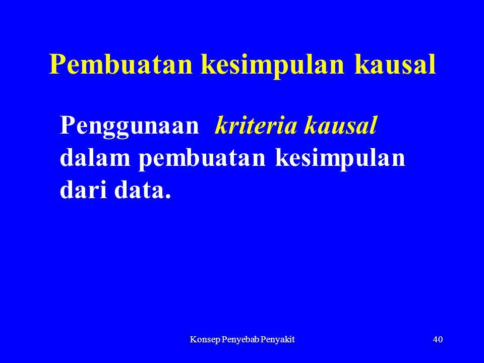 Konsep Penyebab Penyakit40 Pembuatan kesimpulan kausal Penggunaan kriteria kausal dalam pembuatan kesimpulan dari data.