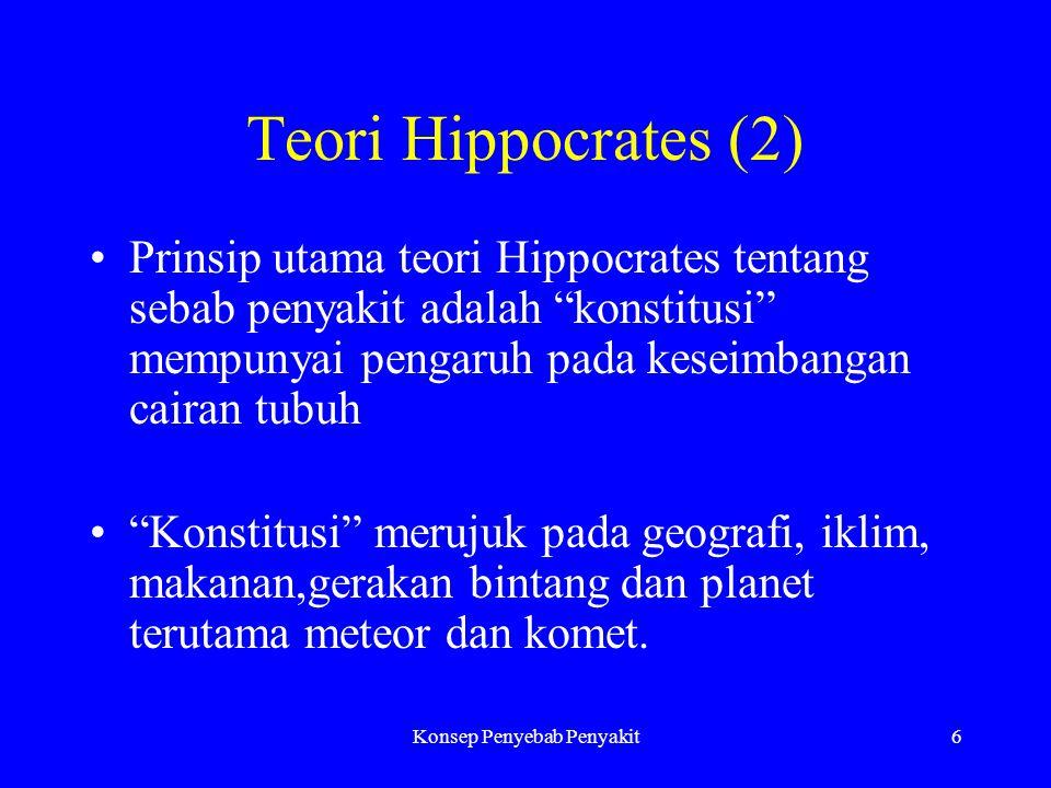 Konsep Penyebab Penyakit6 Teori Hippocrates (2) Prinsip utama teori Hippocrates tentang sebab penyakit adalah konstitusi mempunyai pengaruh pada keseimbangan cairan tubuh Konstitusi merujuk pada geografi, iklim, makanan,gerakan bintang dan planet terutama meteor dan komet.