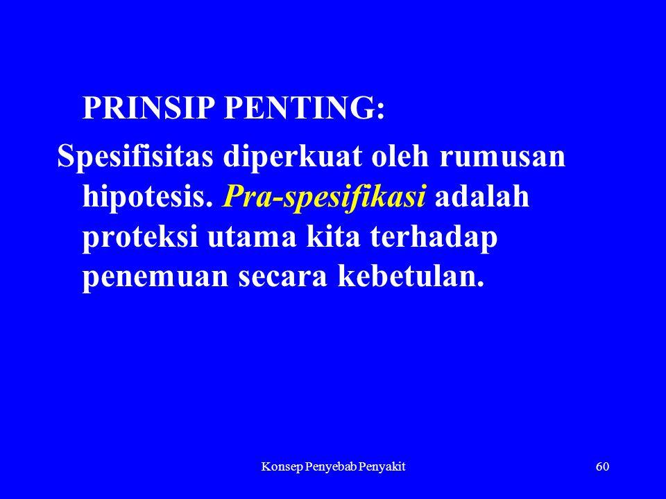 Konsep Penyebab Penyakit60 PRINSIP PENTING: Spesifisitas diperkuat oleh rumusan hipotesis.