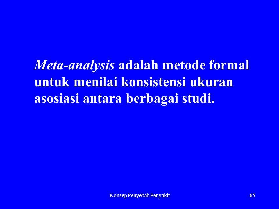 Konsep Penyebab Penyakit65 Meta-analysis adalah metode formal untuk menilai konsistensi ukuran asosiasi antara berbagai studi.