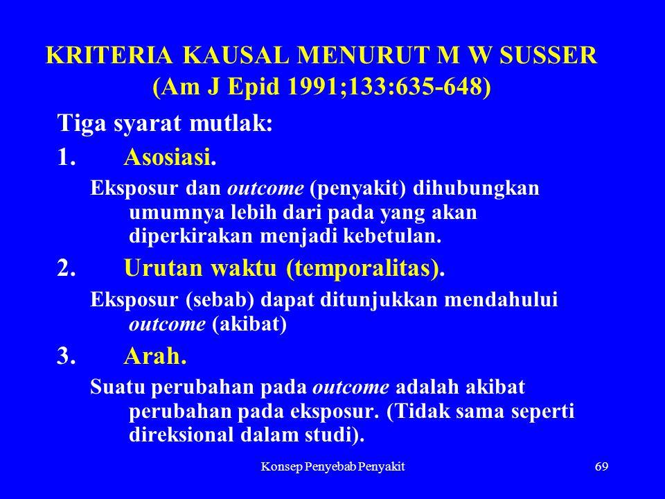 Konsep Penyebab Penyakit69 KRITERIA KAUSAL MENURUT M W SUSSER (Am J Epid 1991;133:635-648) Tiga syarat mutlak: 1.Asosiasi. Eksposur dan outcome (penya