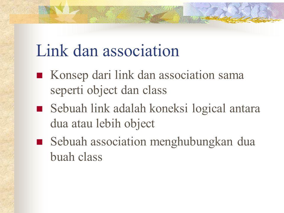 Link dan association Konsep dari link dan association sama seperti object dan class Sebuah link adalah koneksi logical antara dua atau lebih object Se