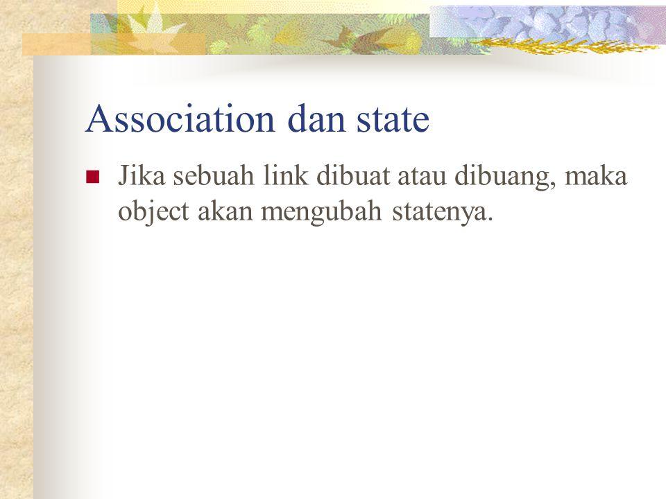 Association dan state Jika sebuah link dibuat atau dibuang, maka object akan mengubah statenya.