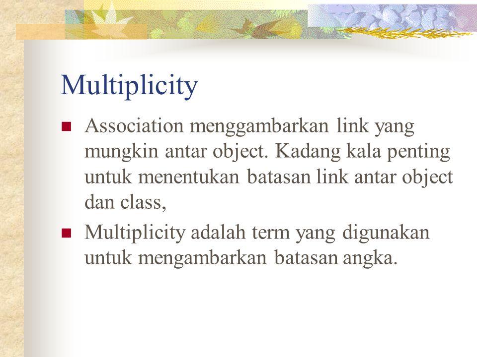 Multiplicity Association menggambarkan link yang mungkin antar object. Kadang kala penting untuk menentukan batasan link antar object dan class, Multi