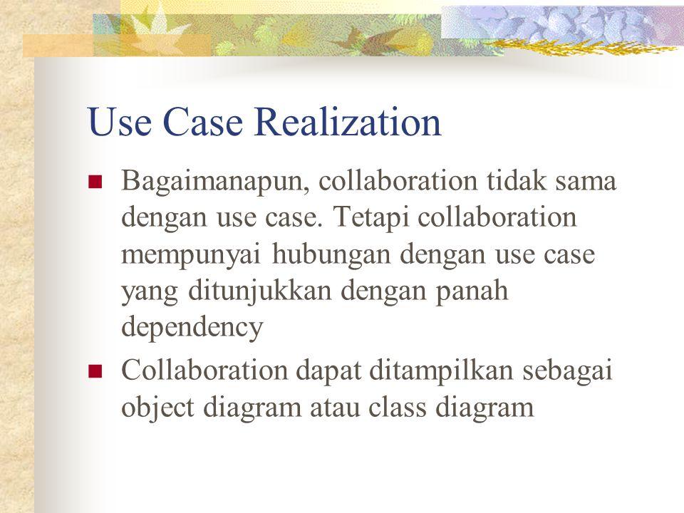 Use Case Realization Bagaimanapun, collaboration tidak sama dengan use case. Tetapi collaboration mempunyai hubungan dengan use case yang ditunjukkan