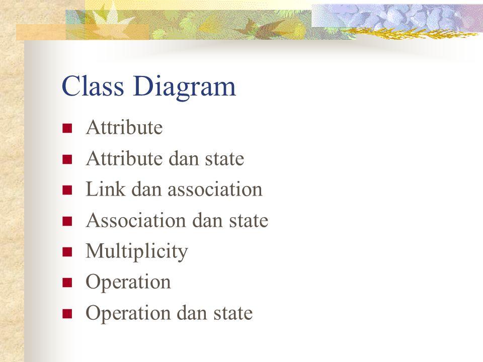 Class Diagram Attribute Attribute dan state Link dan association Association dan state Multiplicity Operation Operation dan state