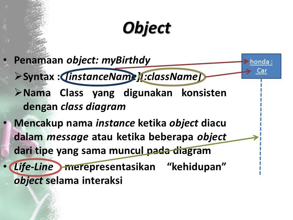 Object Penamaan object: myBirthdy  Syntax : [instanceName][:className]  Nama Class yang digunakan konsisten dengan class diagram Mencakup nama insta