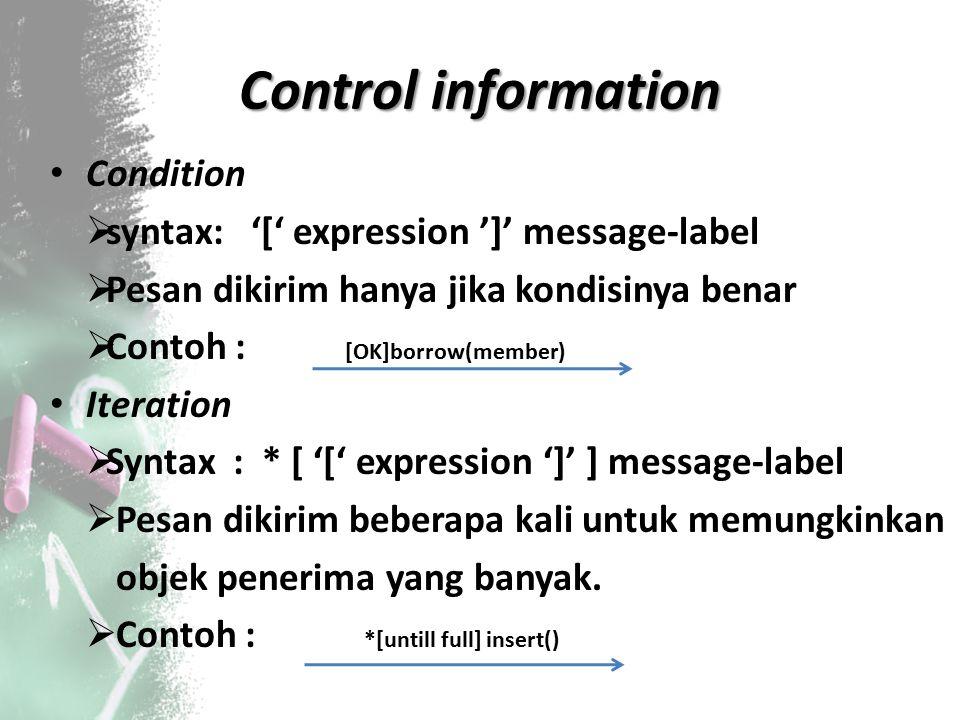 Control information Condition  syntax: '[' expression ']' message‐label  Pesan dikirim hanya jika kondisinya benar  Contoh : [OK]borrow(member) Ite
