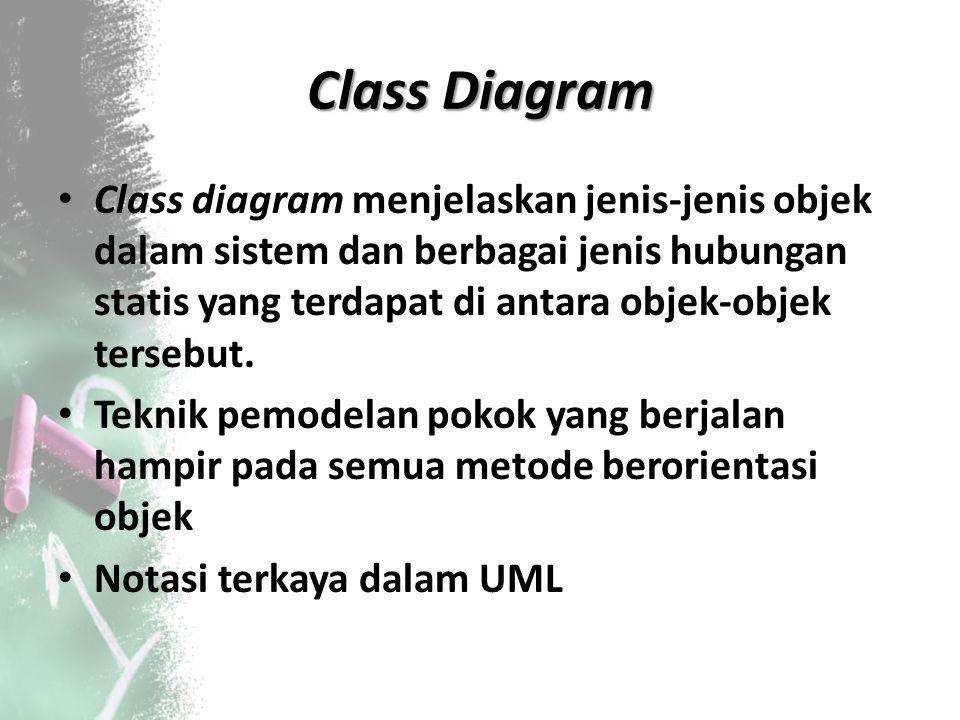 Class Diagram Class diagram menjelaskan jenis‐jenis objek dalam sistem dan berbagai jenis hubungan statis yang terdapat di antara objek‐objek tersebut