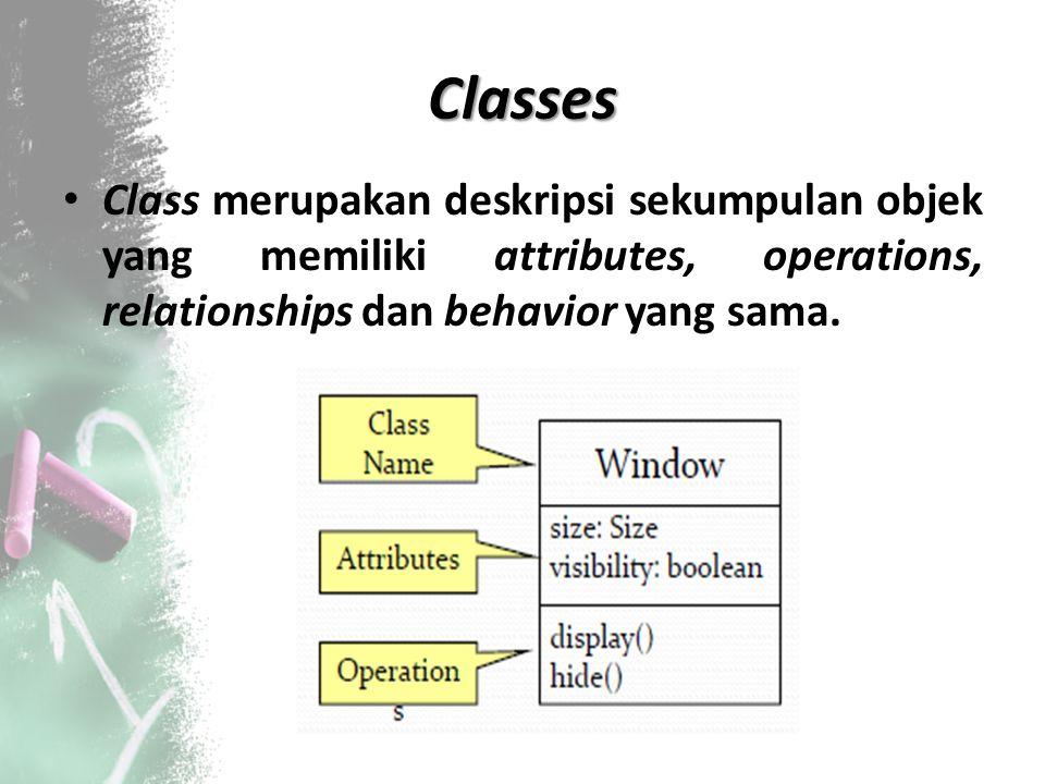 Classes Class merupakan deskripsi sekumpulan objek yang memiliki attributes, operations, relationships dan behavior yang sama.