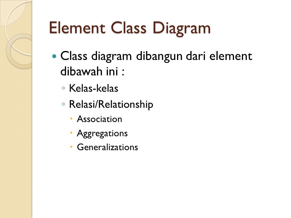 Element Class Diagram Class diagram dibangun dari element dibawah ini : ◦ Kelas-kelas ◦ Relasi/Relationship  Association  Aggregations  Generalizat