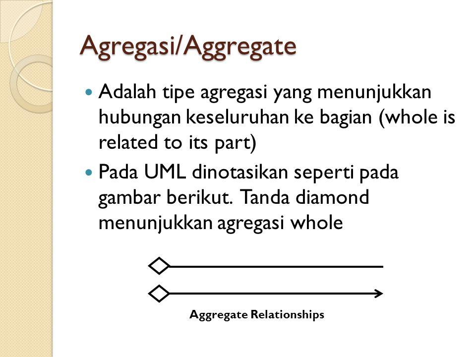 Agregasi/Aggregate Adalah tipe agregasi yang menunjukkan hubungan keseluruhan ke bagian (whole is related to its part) Pada UML dinotasikan seperti pa