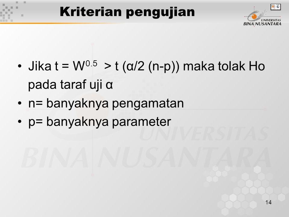 14 Kriterian pengujian Jika t = W 0.5 > t (α/2 (n-p)) maka tolak Ho pada taraf uji α n= banyaknya pengamatan p= banyaknya parameter