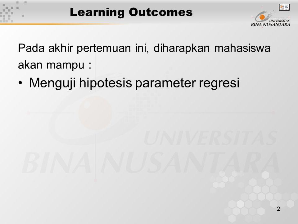 2 Learning Outcomes Pada akhir pertemuan ini, diharapkan mahasiswa akan mampu : Menguji hipotesis parameter regresi