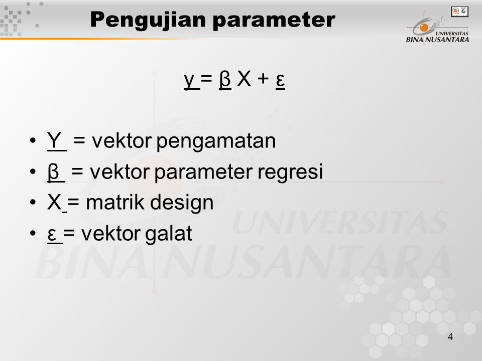 4 Pengujian parameter y = β X + ε Y = vektor pengamatan β = vektor parameter regresi X = matrik design ε = vektor galat