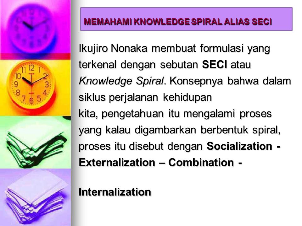 Nonaka´s theory of knowledge creation (2/3) Contents of knowledge created by the four modes (Socialization) Sympathized Knowledge Tacit Knowledge Explicit Knowledge To (Internalization) Operational Knowledge (Combination) Systematic Knowledge (Externalization) Conceptual Knowledge Tacit Knowledge Explicit Knowledge From