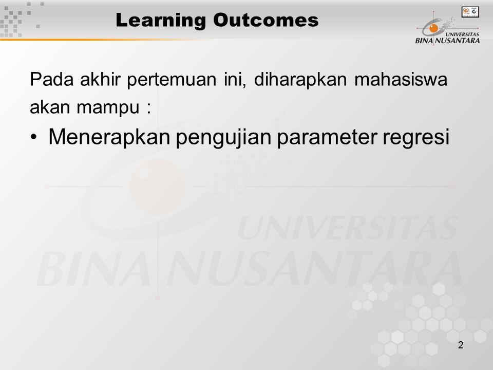 2 Learning Outcomes Pada akhir pertemuan ini, diharapkan mahasiswa akan mampu : Menerapkan pengujian parameter regresi