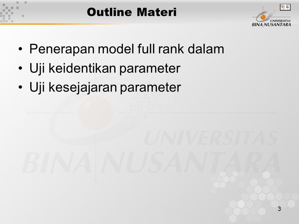4 Pengujian parameter model y = β X + ε Y = vektor pengamatan β = vektor parameter regresi X = matrik design ε = vektor galat