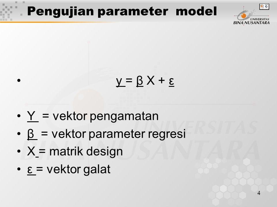 5 Statistik uji hipotesis Hipotesis Ho: h'  = ho lawan H 1 : h'   ho (h'  – ho ) 2 w = -----------------, s 2 ( h' C h) sedangkan C= (X'X) -1, X= matrik desain, s 2 = kuadrat tengah sisaan.