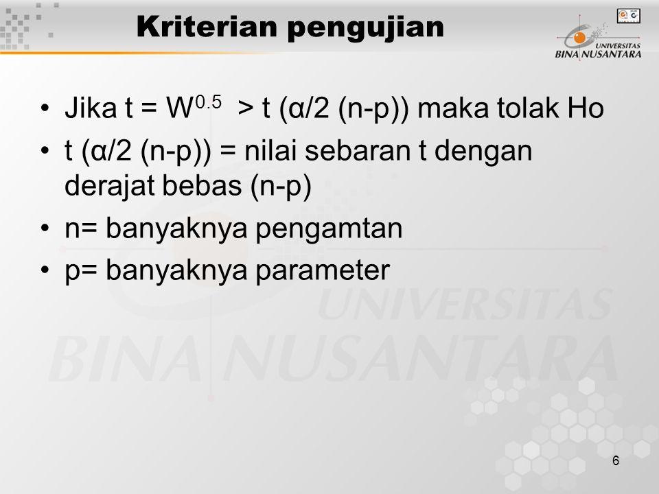 6 Kriterian pengujian Jika t = W 0.5 > t (α/2 (n-p)) maka tolak Ho t (α/2 (n-p)) = nilai sebaran t dengan derajat bebas (n-p) n= banyaknya pengamtan p= banyaknya parameter