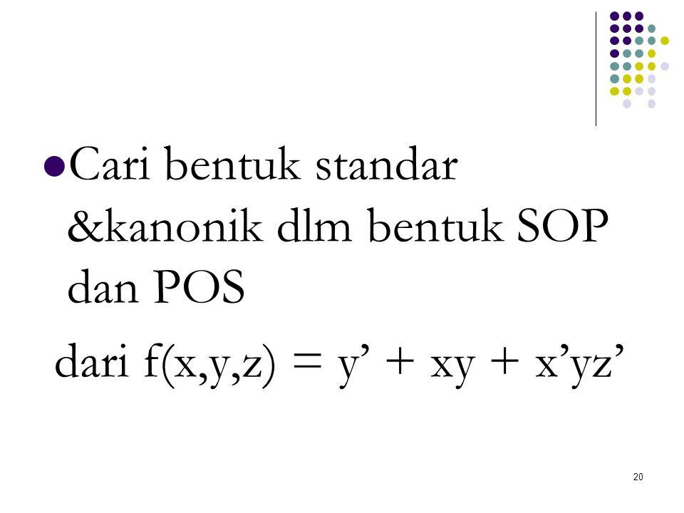Cari bentuk standar &kanonik dlm bentuk SOP dan POS dari f(x,y,z) = y' + xy + x'yz' 20