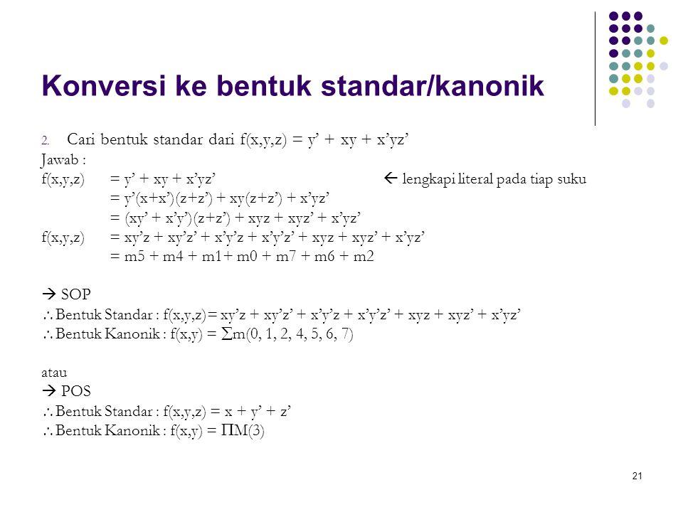 21 Konversi ke bentuk standar/kanonik 2. Cari bentuk standar dari f(x,y,z) = y' + xy + x'yz' Jawab : f(x,y,z) = y' + xy + x'yz'  lengkapi literal pad