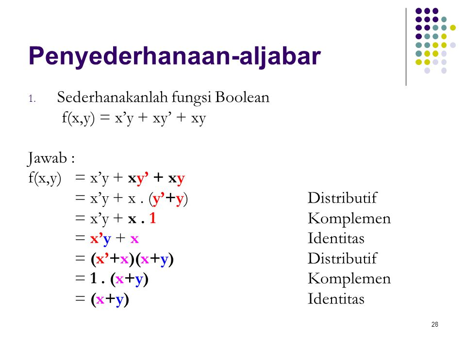 28 Penyederhanaan-aljabar 1. Sederhanakanlah fungsi Boolean f(x,y) = x'y + xy' + xy Jawab : f(x,y) = x'y + xy' + xy = x'y + x. (y'+y)Distributif = x'y