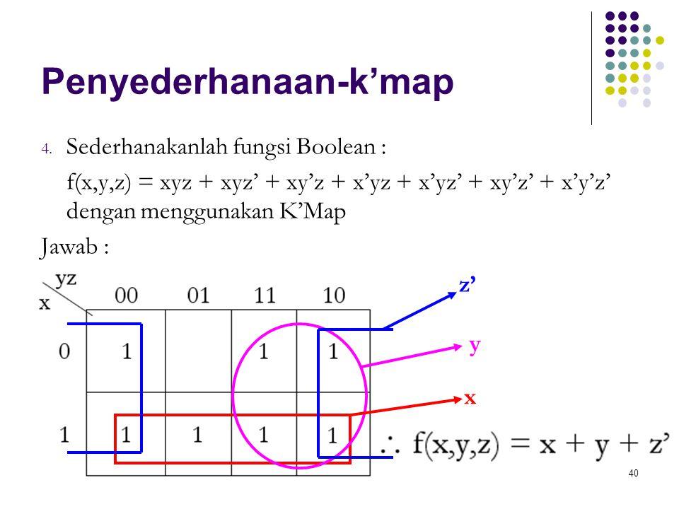 40 Penyederhanaan-k'map 4. Sederhanakanlah fungsi Boolean : f(x,y,z) = xyz + xyz' + xy'z + x'yz + x'yz' + xy'z' + x'y'z' dengan menggunakan K'Map Jawa
