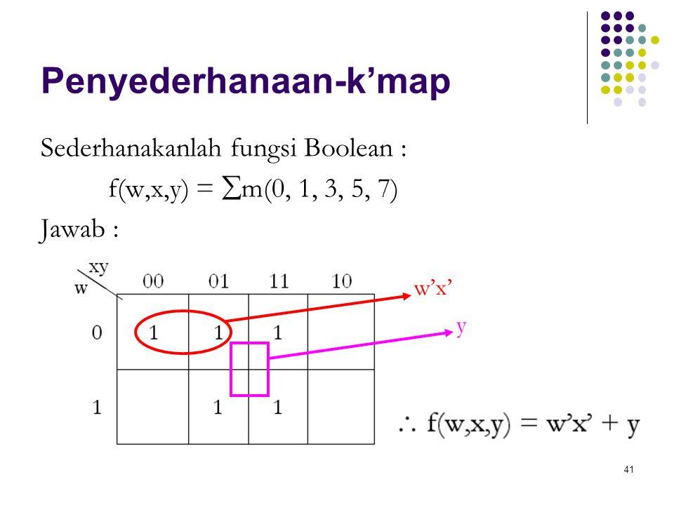 41 Penyederhanaan-k'map Sederhanakanlah fungsi Boolean : f(w,x,y) =  m(0, 1, 3, 5, 7) Jawab : w'x' y
