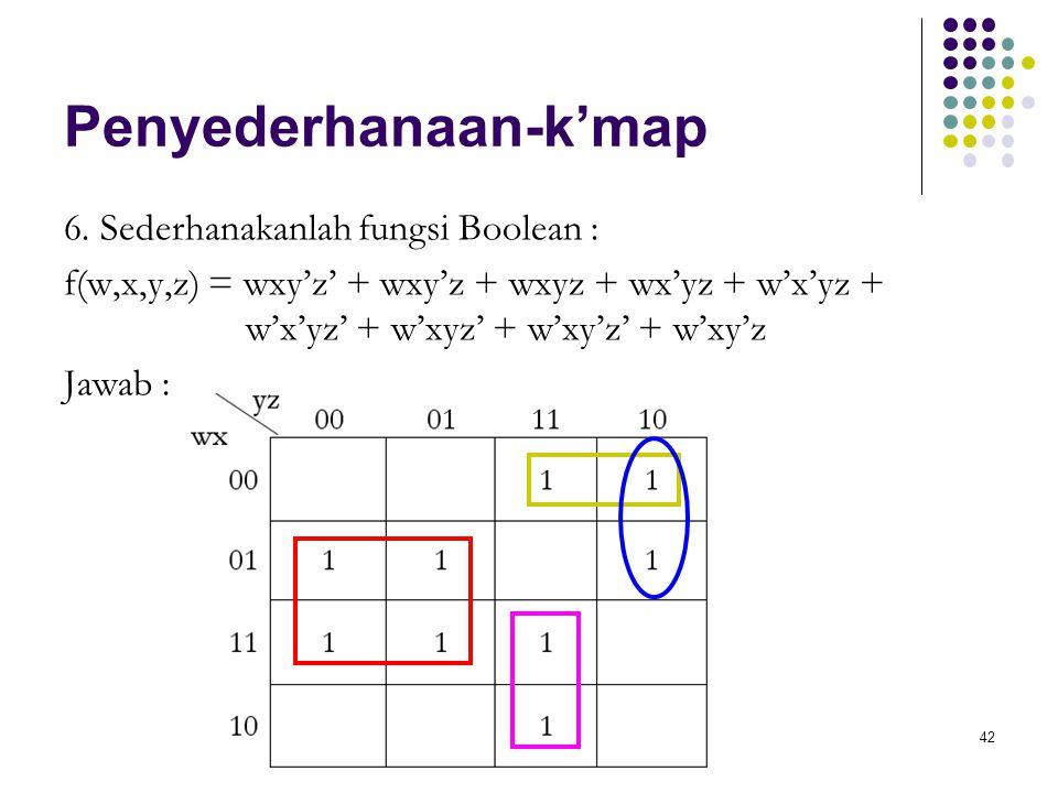 42 Penyederhanaan-k'map 6. Sederhanakanlah fungsi Boolean : f(w,x,y,z) = wxy'z' + wxy'z + wxyz + wx'yz + w'x'yz + w'x'yz' + w'xyz' + w'xy'z' + w'xy'z