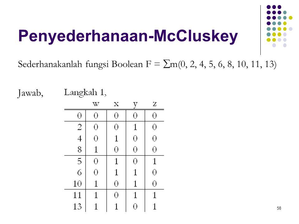 Penyederhanaan-McCluskey Sederhanakanlah fungsi Boolean F =  m(0, 2, 4, 5, 6, 8, 10, 11, 13) Jawab, 58