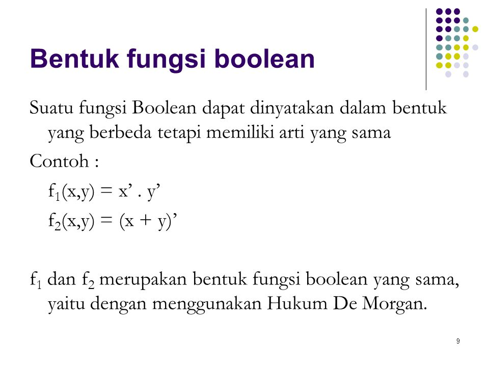 9 Bentuk fungsi boolean Suatu fungsi Boolean dapat dinyatakan dalam bentuk yang berbeda tetapi memiliki arti yang sama Contoh : f 1 (x,y) = x'. y' f 2