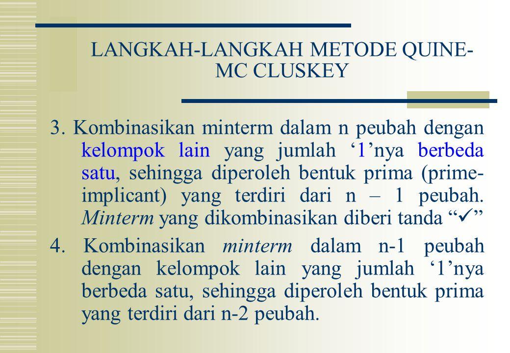 LANGKAH-LANGKAH METODE QUINE- MC CLUSKEY 3. Kombinasikan minterm dalam n peubah dengan kelompok lain yang jumlah '1'nya berbeda satu, sehingga diperol