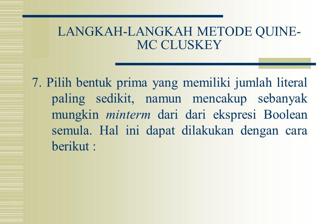 LANGKAH-LANGKAH METODE QUINE- MC CLUSKEY 7. Pilih bentuk prima yang memiliki jumlah literal paling sedikit, namun mencakup sebanyak mungkin minterm da