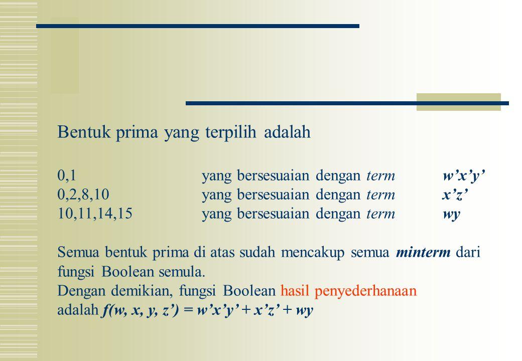 Bentuk prima yang terpilih adalah 0,1yang bersesuaian dengan term w'x'y' 0,2,8,10yang bersesuaian dengan term x'z' 10,11,14,15yang bersesuaian dengan