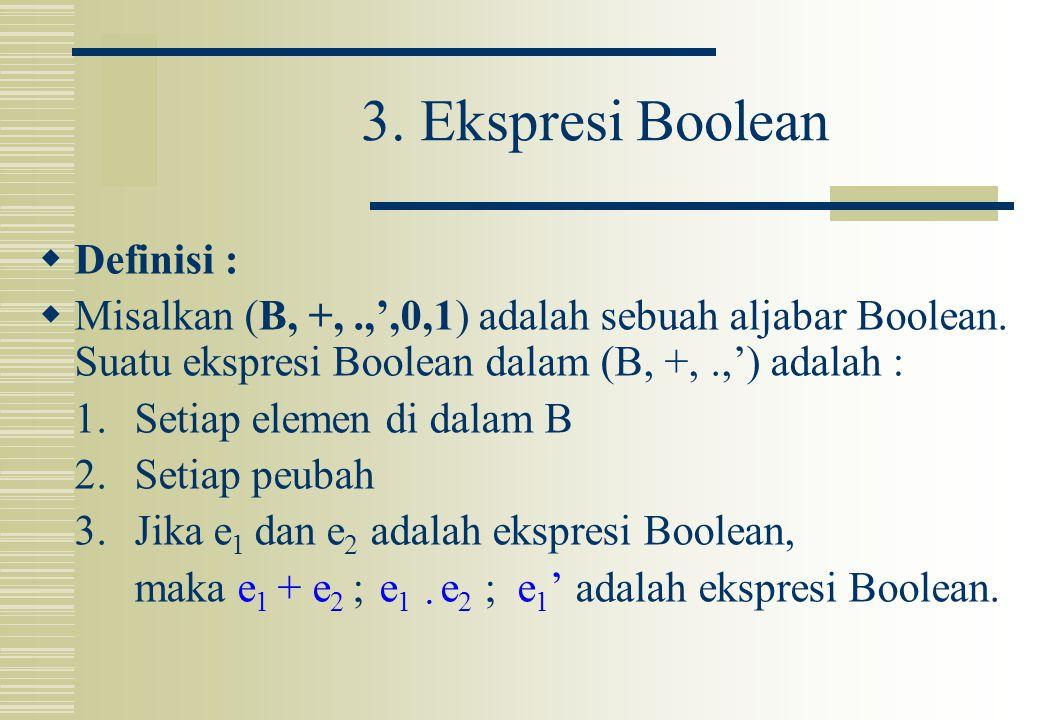 3. Ekspresi Boolean  Definisi :  Misalkan (B, +,.,',0,1) adalah sebuah aljabar Boolean. Suatu ekspresi Boolean dalam (B, +,.,') adalah : 1. Setiap e