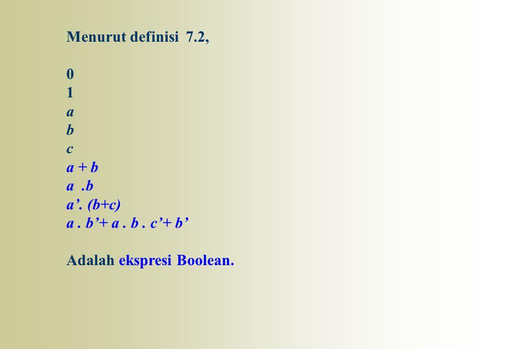 Menurut definisi 7.2, 0 1 a b c a + b a.b a'. (b+c) a. b'+ a. b. c'+ b' Adalah ekspresi Boolean.