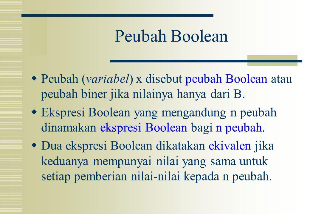 Peubah Boolean  Peubah (variabel) x disebut peubah Boolean atau peubah biner jika nilainya hanya dari B.  Ekspresi Boolean yang mengandung n peubah